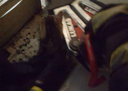Steckengebliebene Katze von Feuerwehrleuten befreit