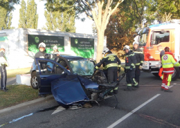 Verkehrsunfall – PKW-Lenker im Unfallfahrzeug eingeklemmt